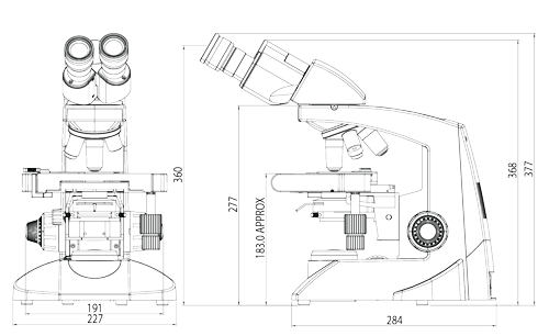 Labomed Lx 400 Laboratory Microscope Line Drawing